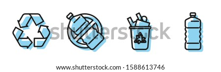 Set line Recycle bin with recycle symbol, Recycle symbol, No plastic bottle and Plastic bottle icon. Vector