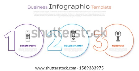 Set line Remote control , Remote control and Electric fan . Business infographic template. Vector