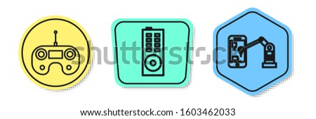 Set line Remote control, Remote control and Industrial machine robotic robot arm hand. Colored shapes. Vector