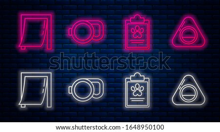 Set line Retractable cord leash, Clipboard with medical clinical record pet, Door for pet and Pet bed. Glowing neon icon on brick wall. Vector