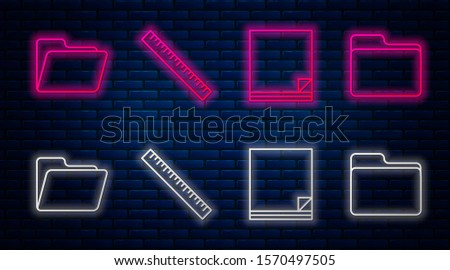 Set line Ruler, File document, Document folder and Document folder. Glowing neon icon on brick wall. Vector