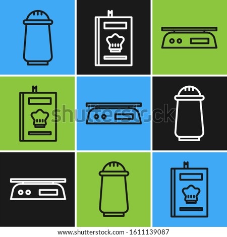 Set line Salt and pepper, Electronic scales and Cookbook icon. Vector