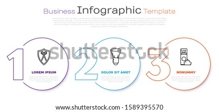 Set line Scissors hairdresser and shield, Shaving brush and Shaving gel foam. Business infographic template. Vector