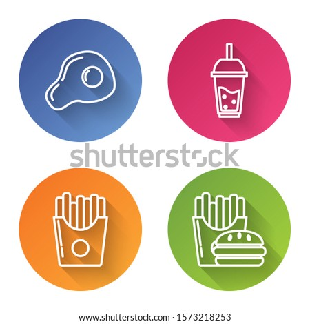 Set line Scrambled eggs, Glass of lemonade with drinking straw, Potatoes french fries in carton package box and Burger and french fries in carton package box. Color circle button. Vector