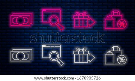 Set line Search in a browser window, Gift box, Stacks paper money cash and Shoping bag with discount. Glowing neon icon on brick wall. Vector
