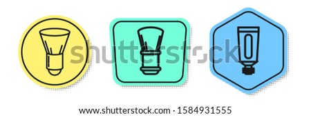 Set line Shaving brush, Shaving brush and Cream or lotion cosmetic tube. Colored shapes. Vector