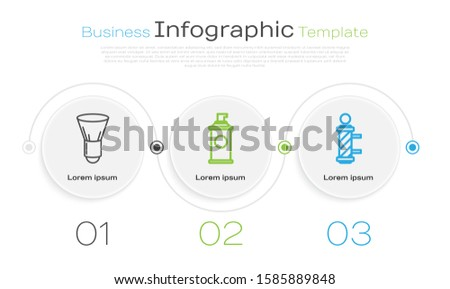 Set line Shaving brush, Shaving gel foam and Classic Barber shop pole. Business infographic template. Vector
