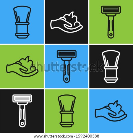 Set line Shaving brush, Shaving razor and Shaving gel foam on hand icon. Vector