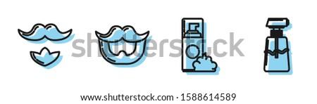 Set line Shaving gel foam, Mustache and beard, Mustache and beard and Cream or lotion cosmetic tube icon. Vector