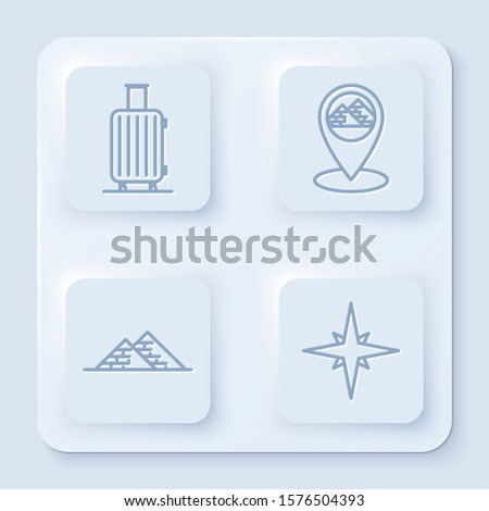 Set line Suitcase for travel, Map pointer with Egypt pyramids, Egypt pyramids and Wind rose. White square button. Vector