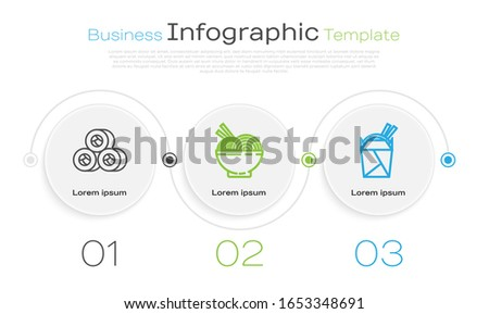 Set line Sushi, Asian noodles in bowl and chopsticks and Asian noodles in paper box and chopsticks. Business infographic template. Vector