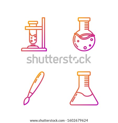 Set line Test tube and flask chemical laboratory, Paint brush, Glass test tube flask on fire and Test tube and flask chemical laboratory. Gradient color icons. Vector