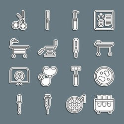 Set line Test tube and flask, Petri dish with bacteria, Stretcher, Tooth drill, Medical dental chair, Operating table, scissors and digital thermometer icon. Vector