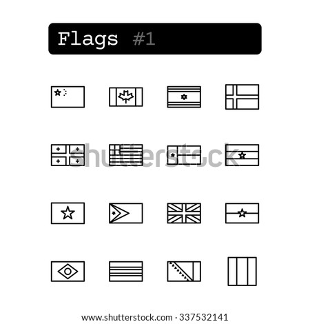 set line thin icons vector