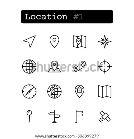 Set line thin icons. Vector. Geolocation navigation.