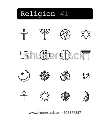 Set line thin icons. Vector. Religion symbols