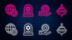 Set line Tombstone with star of david, Jewish coin on hand, World Globe and Israel and Hanukkah dreidel. Glowing neon icon on brick wall. Vector