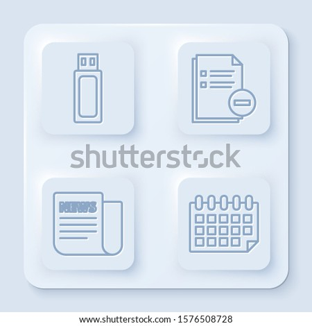 Set line USB flash drive, Document with minus, News and Calendar. White square button. Vector