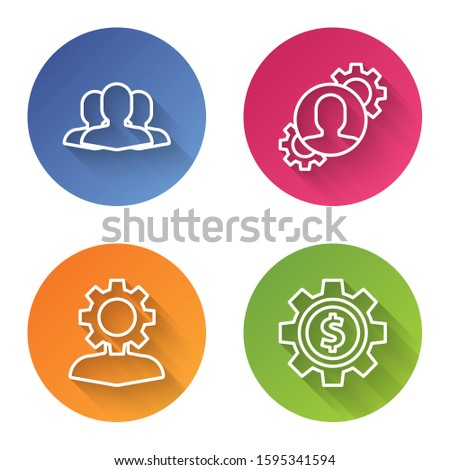 Set line Users group, Human with gear inside, Human with gear inside and Gear with dollar symbol. Color circle button. Vector