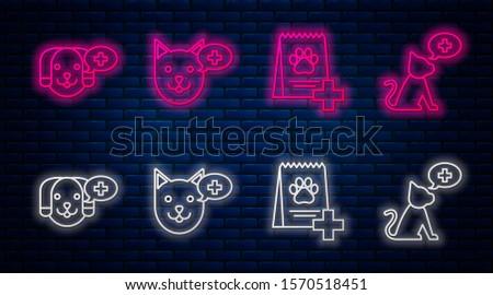 Set line Veterinary clinic symbol, Bag of food for dog, Veterinary clinic symbol and Veterinary clinic symbol. Glowing neon icon on brick wall. Vector