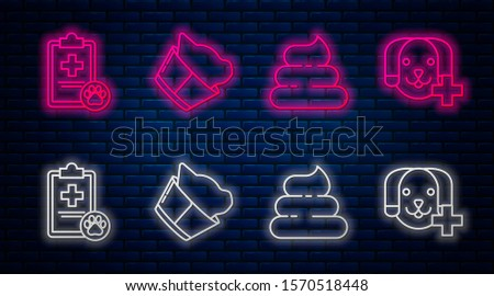 Set line Veterinary clinic symbol, Shit, Clipboard with medical clinical record pet and Veterinary clinic symbol. Glowing neon icon on brick wall. Vector