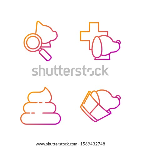 Set line Veterinary clinic symbol, Shit, Veterinary clinic symbol and Veterinary clinic symbol. Gradient color icons. Vector