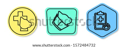 Set line Veterinary clinic symbol, Veterinary clinic symbol and Clipboard with medical clinical record pet. Colored shapes. Vector