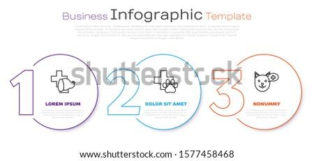 Set line Veterinary clinic symbol, Veterinary clinic symbol and Veterinary clinic symbol. Business infographic template. Vector