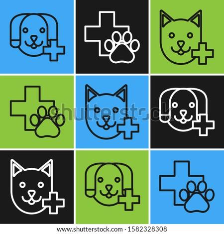 Set line Veterinary clinic symbol, Veterinary clinic symbol and Veterinary clinic symbol icon. Vector