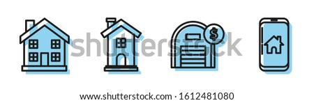 Set line Warehouse with dollar symbol, Home symbol, Home symbol and Mobile phone with smart home icon. Vector