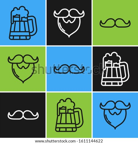 Set line Wooden beer mug, Mustache and Mustache and beard icon. Vector