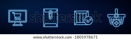 Set line Wooden box with check mark, Shopping cart on computer, Envelope and Add to basket. Glowing neon icon on brick wall. Vector