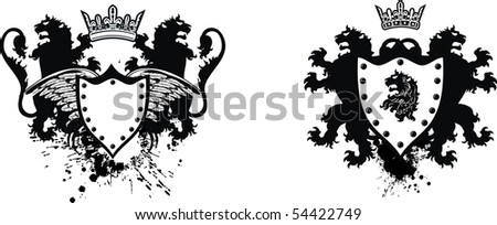 set lion coat of arms in vector format very easy to edit