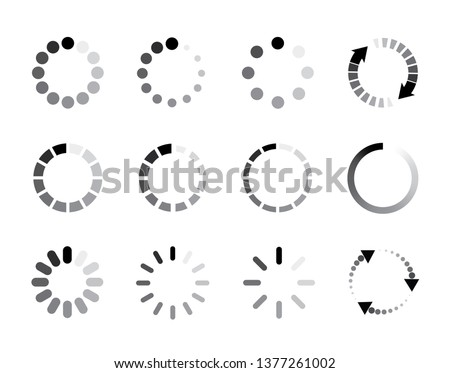 Set Loading icons. Load icon. Donload or upload status icon. Flat style - stock vector.