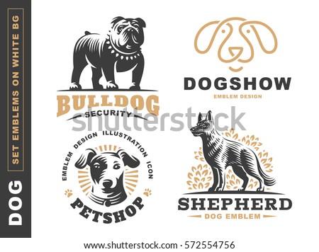 set logo illustration dog  pet