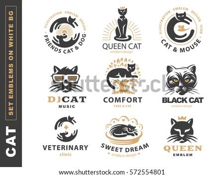set logo illustration with cat
