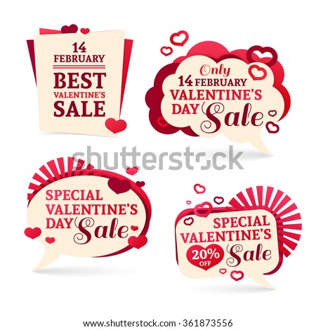 Set logo, sets, badges, stickers for Valentine's Day promotion. Notice of discounts, price tags sale Valentine's Day. Vector.
