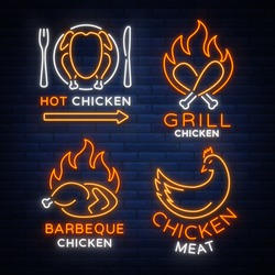 Set logo, signs, banners chicken in neon style for a grocery store and restaurants. Neon sign, night bright advertisement. Barbecue chicken, grilled chicken. Vector illustration