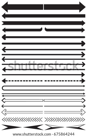 Set long arrow icon black and white. sign design, Arrow Icon Vector illustration