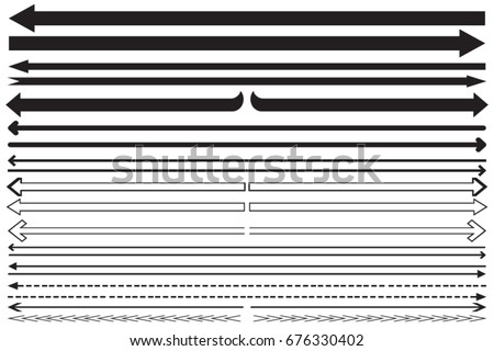 Set long arrow icon black and white. sign design, Vector illustration