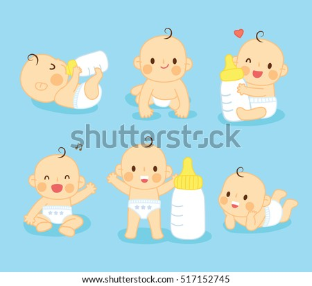 set lovely baby cute  with milk - Shutterstock ID 517152745