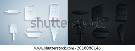 Set Macaron cookie, Grater, Kitchen brush, Pastry bag for decorate cakes, Flour pack and Rolling pin icon. Vector Foto d'archivio ©