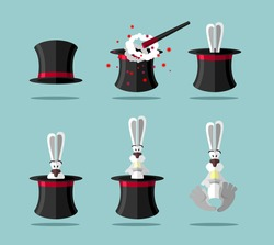 Set magician: wand, Topper and rabbit. Vector icons