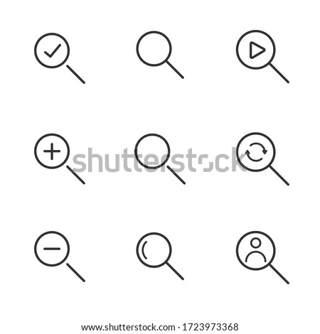Set Magnifier search , Related Line Icons. line icon Collection of high quality magnifier search,  magnifier search icons. Set icon  magnifier search. Illustration vector magnifying zoom