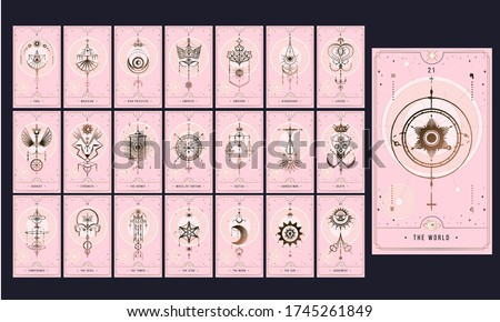 set MAJOR ARCANA secret card, Tarot card gold with black and pink. Magical occult tarot card set. Engraving vector illustration. Cards isolated on white background for poster, sticker, template.