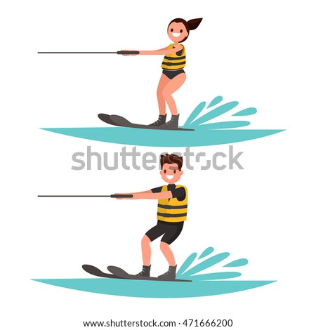 set man and woman water ski