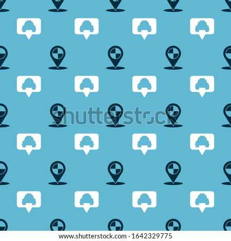 Set Map pointer with taxi and Map pointer with taxi on seamless pattern. Vector