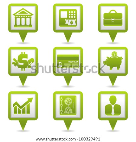 Set Map Pointers with Financial Business Icons, vector illustration