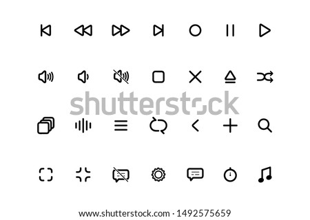 Set Media Player icons. Multimedia. Symbol set, media player icon, player icon. Player buttons