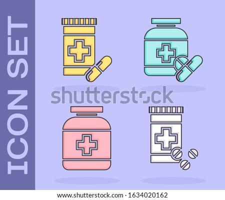 Set Medicine bottle and pills, Medicine bottle and pills, Medicine bottle and Medicine bottle and pills icon. Vector